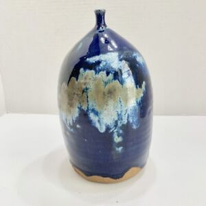 Blue Glaze Stoneware Pottery 8.5 in. Vessel with Narrow Neck Signed