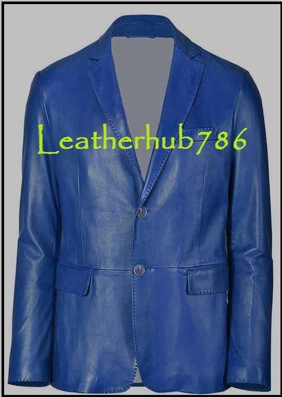 New Blazer bluee Men Handmade Genuine Lambskin Leather Slim Fit Two Button 372