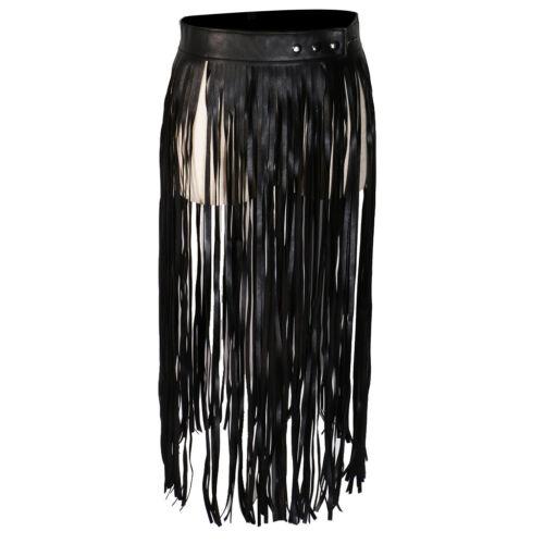 PU Leather Long Wrap Waist Fringe Tassel Skirt Belt Bikini Waistband Black