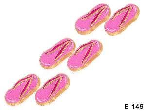 6PC-PINK-BEACH-SHOE-FLIP-FLOPS-IRON-ON-EMBROIDERED-APPLIQUE-PATCHES