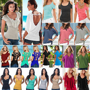 Womens-Cold-Shoulder-T-Shirt-Tops-Short-Sleeve-Summer-Casual-Tee-Shirts-Blouse