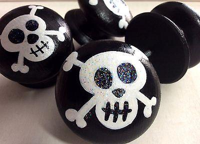 Handpainted Large Black /& White Pirate Skull /& Crossbones Drawer Knobs x 4