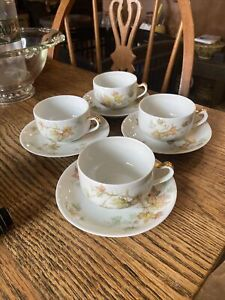 Havilland France Autumn Leaf Limoges Bone China Tea Cups/saucers 4 Total