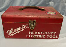 New Listingvintage Red Milwaukee Heavy Duty Electric Tool Box Metal With Tray