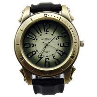 Men's Quartz Military Silicone Wrist Watch Funky Sport Black Steel Vintage