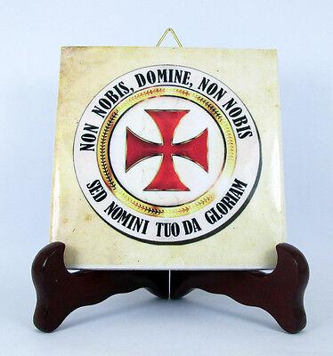 Knights Templar Cross Ceramic Tile Flag Masonic Templars Seal Emblem Logo Mod.3