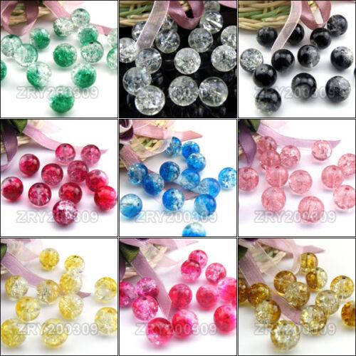 30Pcs 10 mm Ronde en Verre Craquelé Perles 10 Couleurs 1 R0101
