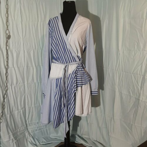 MAEVE NEWPORT STRIPED BLUE WHITE WRAP DRESS SIZE 14