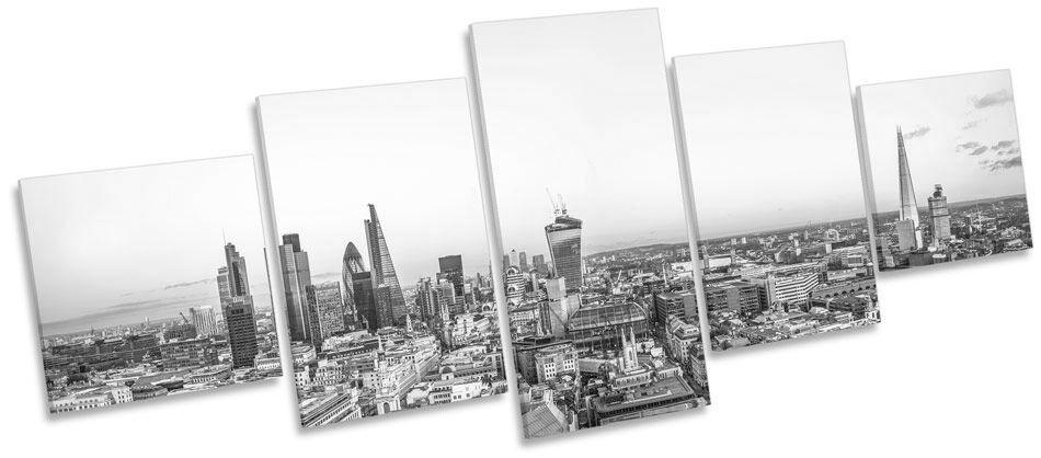 Paisaje Urbano Londres Skyline BW LONA impresión pared arte Foto impresión LONA de panel de cinco 3eb435
