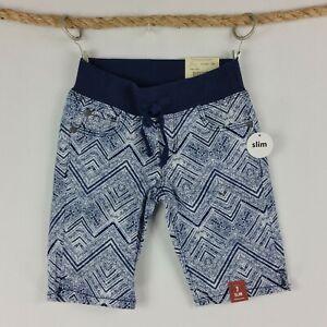 Arizona-Jeans-Co-Girls-Bermuda-Shorts-Size-7-Slim-Blue-White-Design-Elastic-Tie