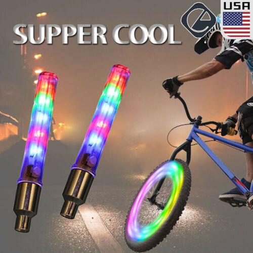 2 Packs Bicycle Waterproof5LED Bike Rim Lights for Wheel Tire Valve SpokePLUS