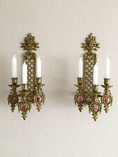 Antique Paar Französisch Louis XVI  Porzellan-Miniatur Wandlampen