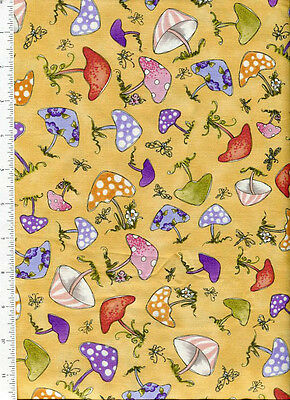 very fairy loralie harris ~ MUSHROOMS ~ fabric polka dot stripe butterfly yellow