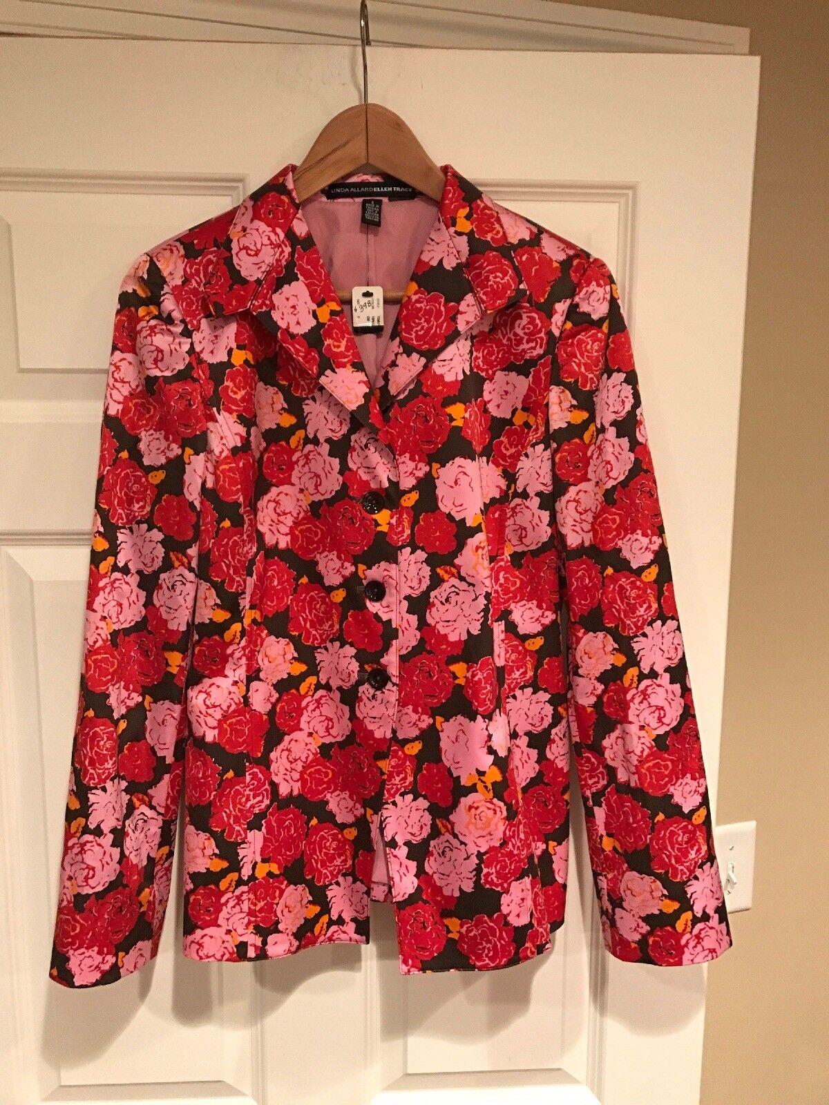 Linda Allard for Ellen Tracy Pink & Red Floral Print Blazer, Size 6, NWT   398