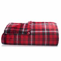 The Big One Super Soft Plush Blanket Full Queen Red Plaid