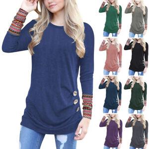 Hot-Women-Ladies-Blouse-Shirt-Tops-Long-Sleeve-Jumper-Pullover-Tunic-T-Shirts-UK
