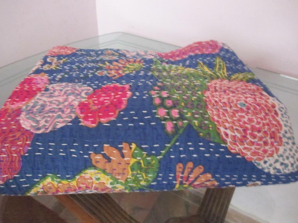 QueenSize bluee Tropi Reversible Cotton Kantha Quilt Sari Throw Bed Cover Blanket