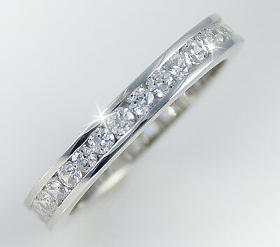 1ct tw Channel Eternity Ring Simulant Imitation Moissanite  Sterling Silver 5.5