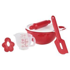 Tupperware-NEW-Kids-TupperToys-Red-Mini-Mix-It-Set-Pretend-Baking-Dish-Measure