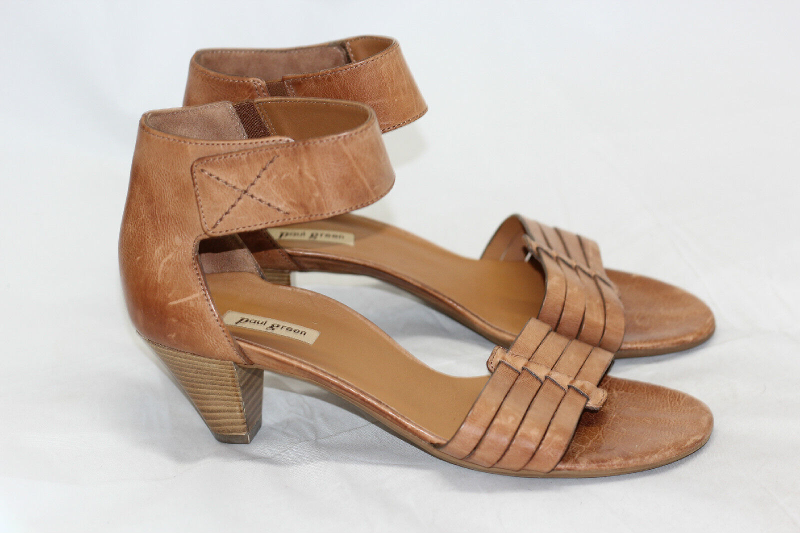 Paul Green 'Coco' Leather Ankle Strap Sandal - Cuoio Brown - 7.5US / 5UK (W22)