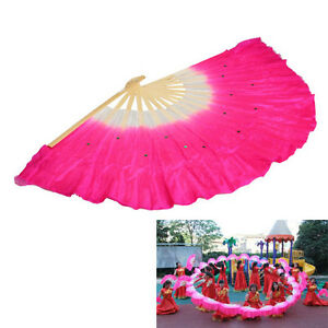 Chinese-Folk-Art-Rose-Silk-Veil-Bamboo-Short-Dancing-Fan-for-Belly-Dance