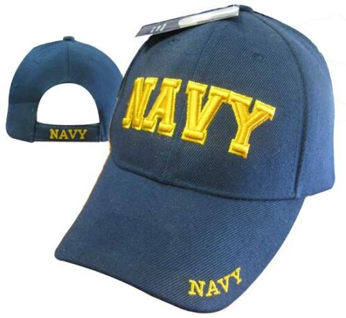 Navy Blue and Gold Letters Ball Cap Baseball Embroidered Hat CAP602DG U.S