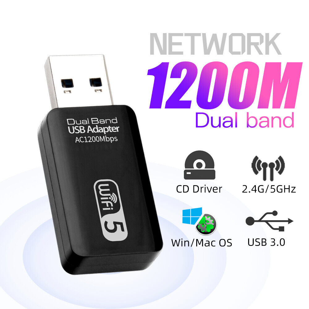 1200Mbps 5GHz mini USB3.0 WiFi Adapter for macOS Windows Dual Band PC wifi card