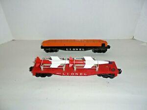 LIONEL-POSTWAR-6823-MISSILE-CAR-WITH-OB-PLUS-BLACK-FLAT-WITH-GIRDER-BRIDGE