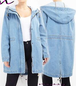 newest 97694 de4ae Dettagli su Nuovo Denim Donna Parker Cappotto Giacca Jeans Parka Blu Taglia  8-24 Plus Un