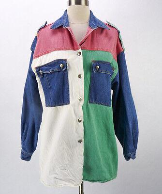 Vintage 80s Denim Colorblock Oversized Chambray Boyfriend Shirt Jacket M/L