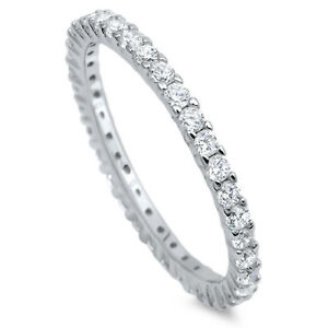 Sterling-Silver-Eternity-Band-Clear-CZ-Thin-2mm-Ring-Stackable-Sizes-4-12-NEW