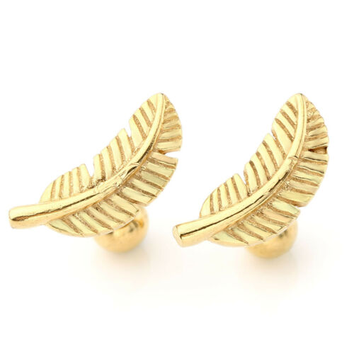 2x Stainless Steel Feather Cartilage Helix Barbell Lobe Earring Ear Stud Ring UK