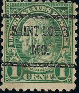1923-Ben-Franklin-1-cent-US-Stamp-precancel-Saint-Louis-MO-NH-Green-581-Perf-10