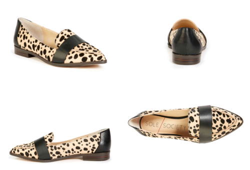SOLE SOCIETY Edie Flat Loafer Cow Hair Cheetah Pri