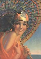 Art Print On Silk - Art Deco Lady With Parasol - From Vintage Travel Poster