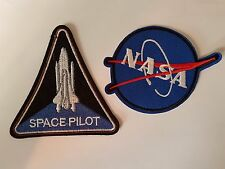 SPace Pilot & Nasa Space logo 2 pack Iron On Patch Sew on Transfer Badge