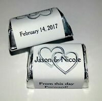 300 Double Linking Silver Hearts Wedding Candy Wrappers Favors Personalized
