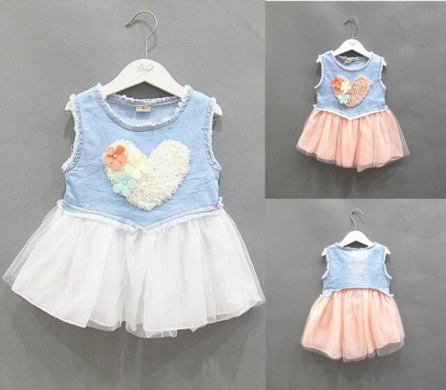 Summer Baby Toddler Girls Party Princess Lace Denim Tulle Dress Newborn~3Y