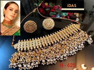 Humorous Silver Plated Indian Kundan Zerconic Bollywood Necklace Earrings Tikka Set 2 Jewelry Sets