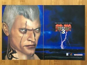Tekken-3-PS1-PSX-Playstation-1-1998-Vintage-Poster-Ad-Print-Art-Official-Promo