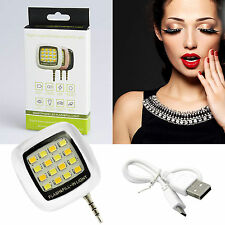Selfie Light Beauty Fill Flash 16 LED Camera Smart 3.5mm Fits Samsung Fits HTC