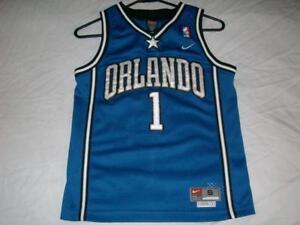 8a347b7a2a7 Tracy McGrady 1 Orlando Magic NBA Nike Sewn Blue Jersey Boy s Small ...