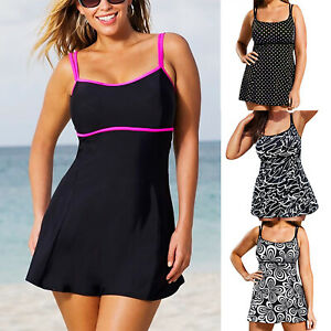 d3aa1a170444f Image is loading 2Pcs-Womens-Plus-Size-Ladies-Swimsuit-Skirted-Swimwear-