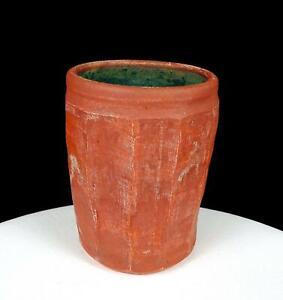 "ANDERSON SIGNED STUDIO ART POTTERY RED PANELED GREEN DRIP GLAZE 5 1/2"" VASE 2005"