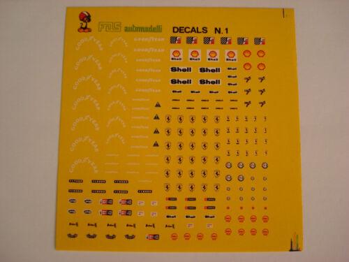 DECAL 1//43 FERRARI,GOOD YEAR,ALFA ROMEO SHELL CHAMPION FERODO GENERICA 1