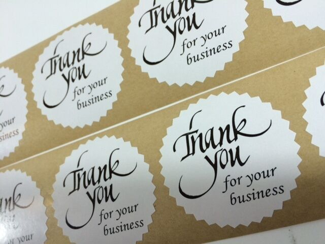 250 thank you for your business 2 starburst black 250 new stickers thank you