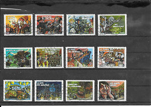 FRANCE-2011-FETES-ET-TRADITIONS-I-I-SERIE-COMPLETE-DE-12-TIMBRES-AA-OBLITERE