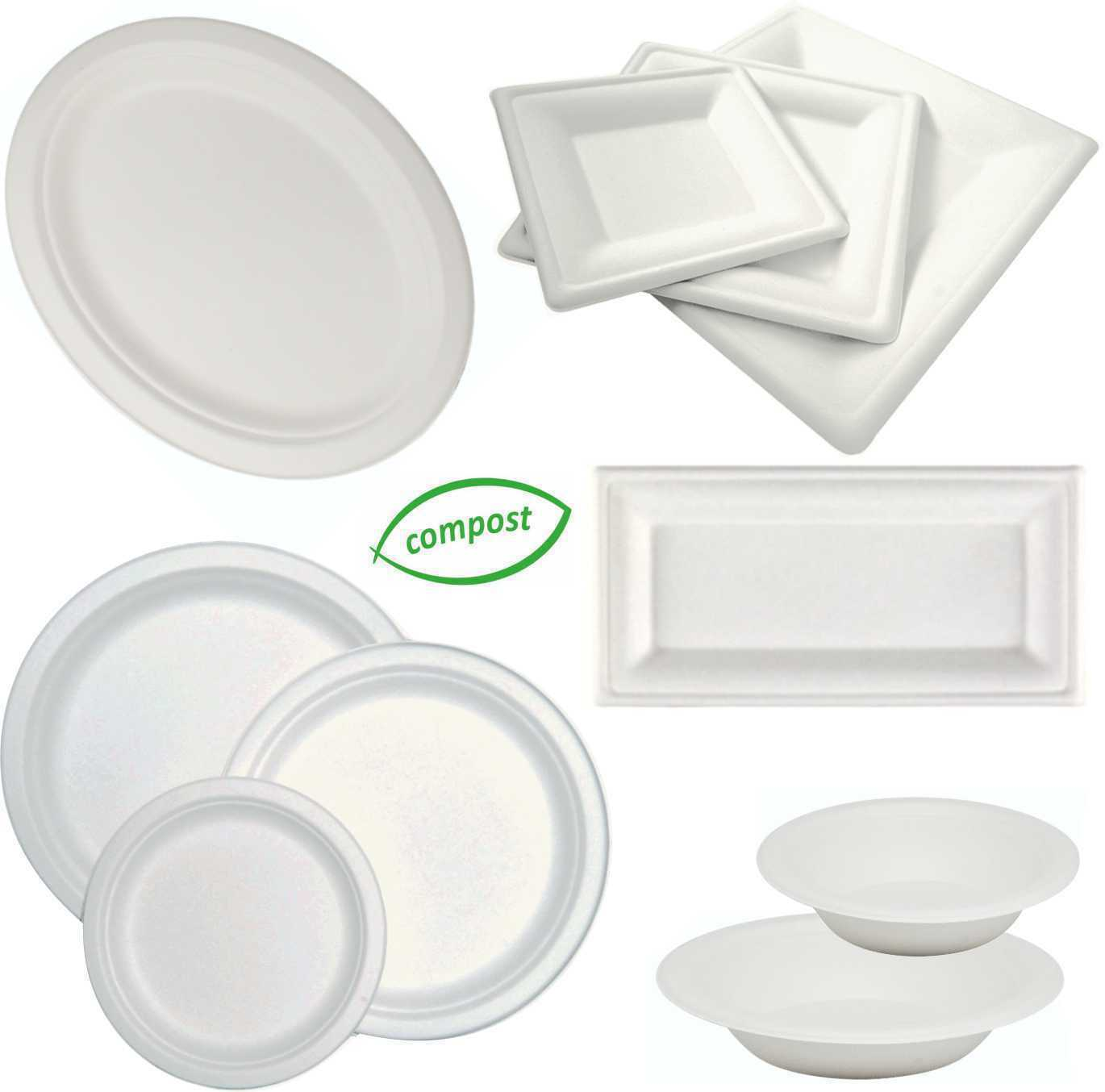 Biodegradable Bagasse Weiß, Round, Square, Oval, Oblong Plates, Bowls Sugarcane