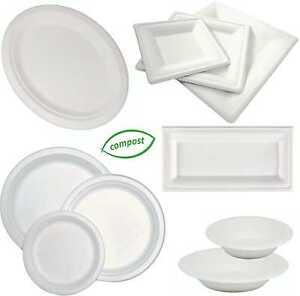Compostable-Disposable-Hot-Round-Square-Oval-Oblong-Plates-Bowls-Platters