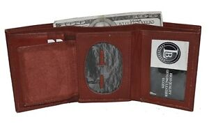 BADGE-ID-HOLDER-ROUNDED-OVAL-SHAPE-BURGUNDY-TRIFOLD-WALLET-NEW-LEATHER-WALLET
